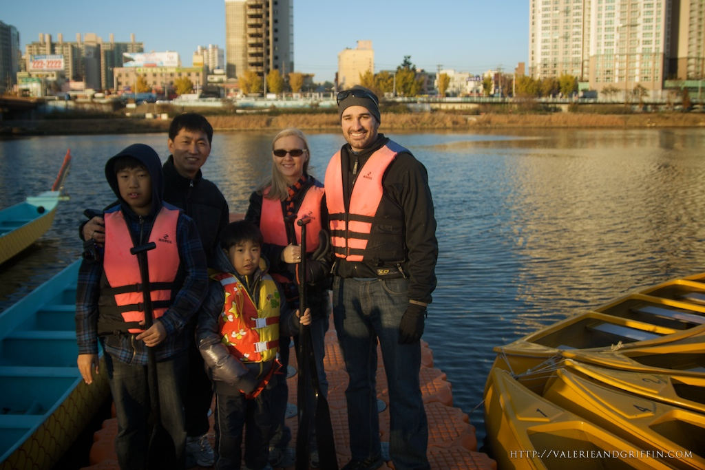 Valerie and I with Mrs. Ahns Husband and two sons right after we had a blast canoeing on the Taewha River in downtown Ulsan.