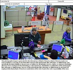 Security camera image of alleged bank robber