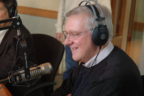 Don Steel in the studio of the Emmis Communications building for WIBCs Radiothon.