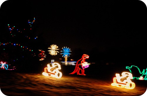 Christmas lights. Dinosaur Christmas.