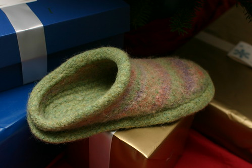 Felted clog. Not as noisy as a wooden clog