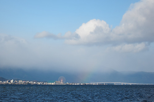 the pale rainbow over Lake Biwako