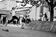 Airwalk (Neal Bingham) Tags: street bw london 35mm jumping nikon south streetphotography bank neal airwalk bingham d40x nealbingham nealbinghamcom