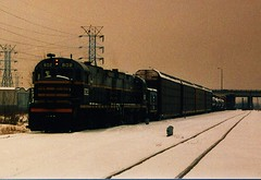 Eastbound Belt Railway of Chicago transfer train departing Clearing Yard. Chicago Illinois. January 1987.