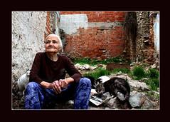 threecatsonewoman (Mehtap Özkan Kasap) Tags: cat oldwoman ayvalık