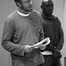 David Annen (Provost) and Andrew French (Friar Peter/Officer 1) in rehearsal for Measure for Measure at the Almeida Theatre. Photo Bridget Jones.