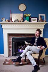 Neal XVII (Matt Claghorn) Tags: blue boy portrait guy cup senior d50 matt fire book nikon fireplace tea tie bowtie nikond50 anderson bow rug 1855mm 1855 neal claghorn mattclaghorn nealanderson