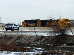 Railroad security patroling the BNSF Railway Corwith Yard. Chicago Illinois. January 2007.