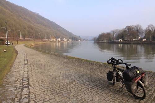 Tranquil cycling along the Meuse River...