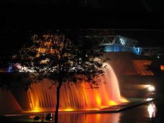 Waterfall of Imagination (eikimartinson) Tags: world park lighting water fountain night waterfall orlando epcot pond florida center disney spray theme imagination pavilion walt effect futureworld