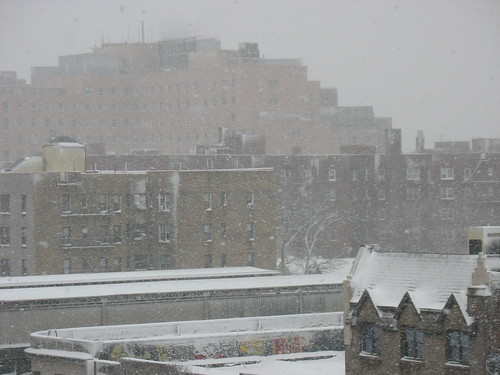 Elmhurst Hospital in Queens during snowstorm