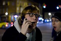 Two Crazy Irishmen, One Ginger and a Phone. (Mikey Roach) Tags: newyork canon glasses ginger unitedstates january cellphone nerds 7d johnny albany zack 2010 washingtonavenue