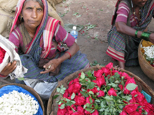 Woman Selling Flowers in the Mapusa Market