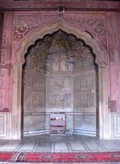 IMG_6239A (jaglazier) Tags: india art stone architecture buildings sandstone shoes interiors december furniture edited 17thcentury crafts delhi indian muslim islam cities arches moorish temples marble rugs carpets domes shrines urbanism shelves 2009 religions mosques islamic reliefs inlay plasterwork mogul jama jamamasjid shahjahan mihrab olddelhi mughal ribbing fridaymosque redsandstone alcoves moorisharches shoeracks nationalcapitalterritory 123009 copyright2009jamesaglazierandjamesaferguson 1644ad1658ad