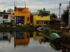 Color, Anyone? (lefeber) Tags: california houses orange reflection water yellow architecture boats la losangeles venicebeach ripples venicecanals