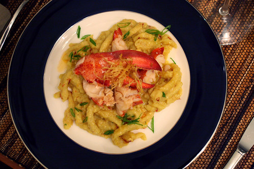 Lobster Spaetzle with Ginger Saffron Cream Sauce