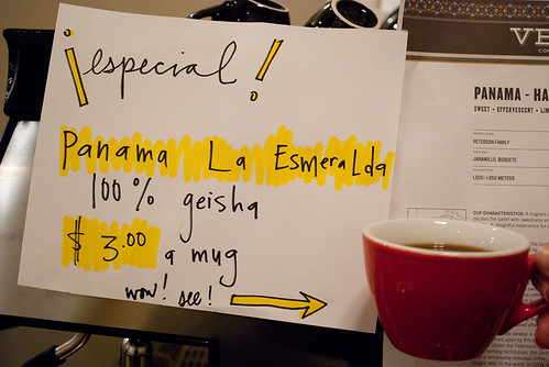 Fresh esmerelda coffee.