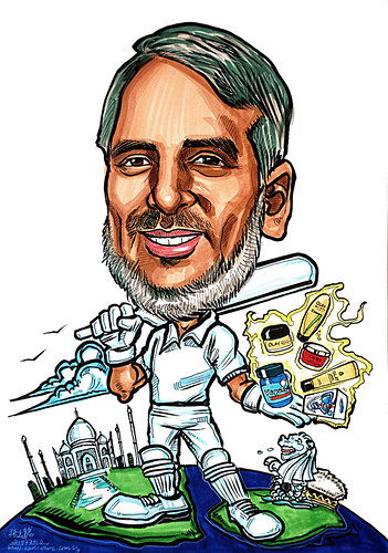 caricature for P&G cricket player