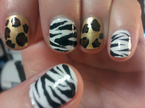 Handpainted Zebra Nail designs Safari Nails