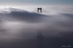 Late Sunday morning Fog on the Golden Gate (M. Shaw) Tags: ocean sanfrancisco california bridge water fog architecture canon is goldengatebridge usm 100400mm longexposer ndfilter canoneos5dmarkii mshaw ef100400mmf4556l 5dmark2