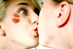mirrors (hidee11) Tags: blue red girl mirror eyes kiss lips blond lipstick