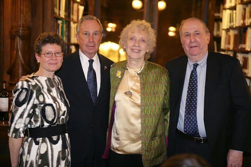 BHS President Deborah Schwartz, Mayor Bloomberg and Library Dinner Honorees Marty and Robert Rubin