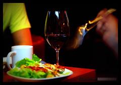 Wine & Dine (Clayton Perry Photoworks) Tags: people food motion blur coffee bar canon restaurant salad wine drink fork mug canonphotography 1dmarkiii canon1dmarkiii claytonperry
