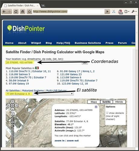 Coordenadas y satélite