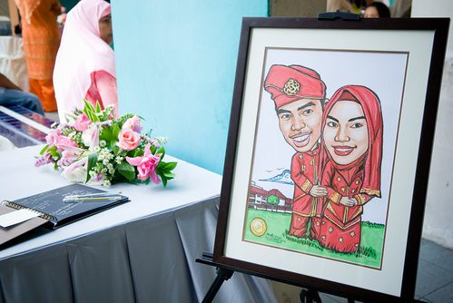 Malay couple wedding caricatures Sep 2007