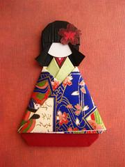 Japanese Chiyogami Paper Doll - Yuzuki (umeorigami) Tags: japan japanese origami doll handmade craft geisha yukata kimono folded paperdoll papercraft washi chiyogami origamidoll warabeningyo