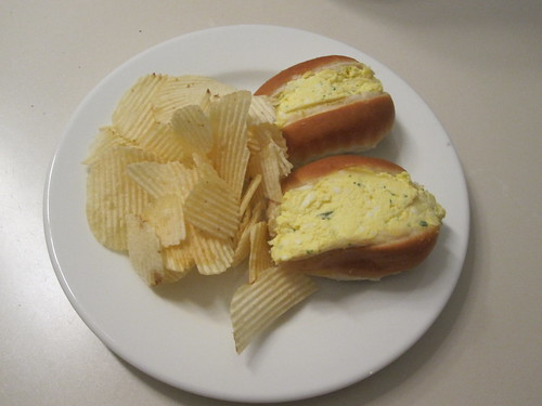 Chips, egg sandwiches