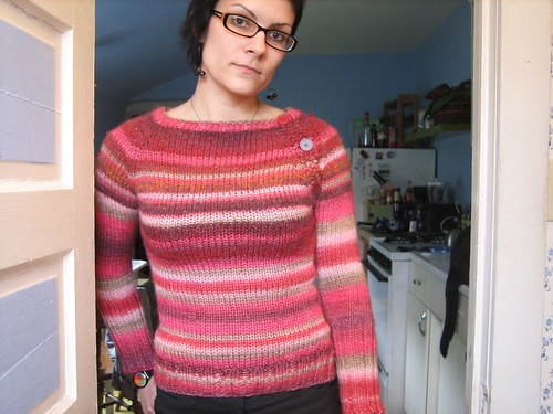 100324. new ridiculous pink sweater from my own head with button neckline.