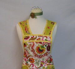 Vintage Style Apron - Pink Design w/Owl and Yellow Trim (Geneva Designs) Tags: street pink orange color green yellow vintage mom shower team day geneva olive style mothers apron idaho henry tape gift owl indie works designs alexander etsy bridal custom paisley multi bias joanns