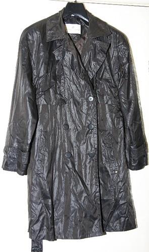 Shiny nylon raincoat