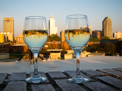 Upside Down World (abbyladybug) Tags: sunset skyline wine raleigh explore wineglasses boylanbridgebrewpub