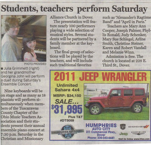 My mom and Julia in the newspaper