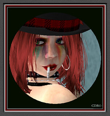 Teen Spite (CallieDel Boa- in and out...) Tags: portrait cute rebel sassy smoking redhead sl secondlife hoops