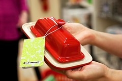 butter dish modeled by steph @ homegoods