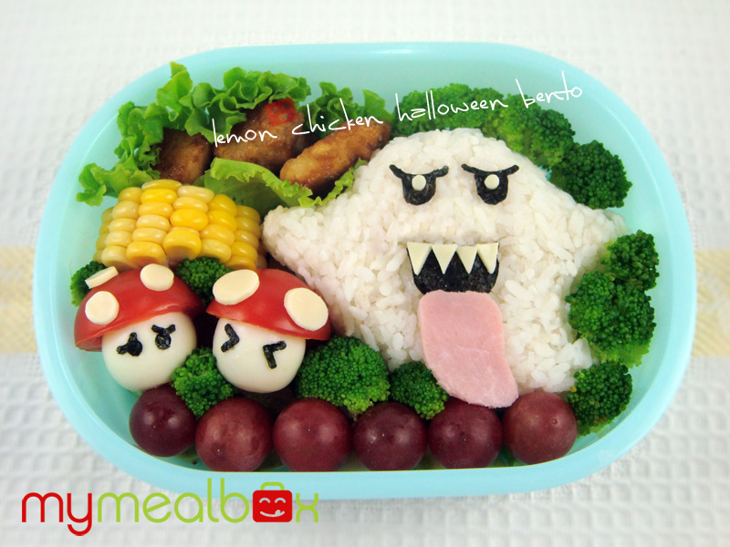 Lemon chicken halloween bento