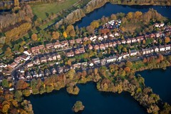 Village .. I wish I lived here. :) (Phaneesh N) Tags: london clouds inflight arial