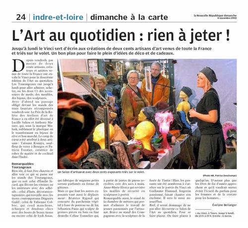 Article Nouvelle République - 8 Novembre 2009
