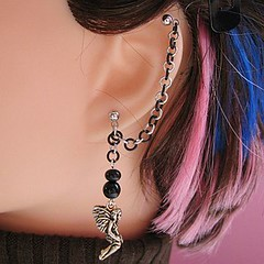 Silver and Black Fairy Cartilage Chain Earring
