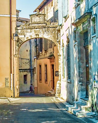 Arles Archway (stephencurtin) Tags: street light shadow france color arch roman historic photograph winding arles thechallengefactory