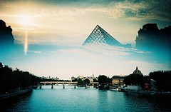 Dreamy Paris (saviorjosh) Tags: travel sunset paris france lomo lca lomography europe fuji doubleexposure august 200 analogue 2009 lelouvre sensia rm laseine splitzer