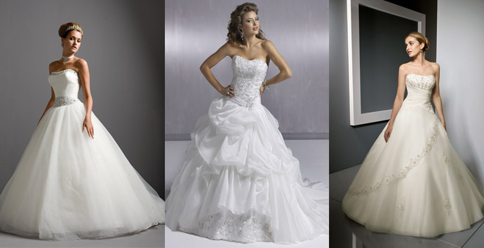 Various models and A-Line strapless gown wedding dress.