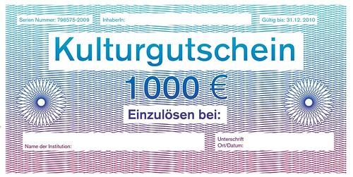 Beipiel für einen Kulturgutschein in Höhe von 1000 Euro