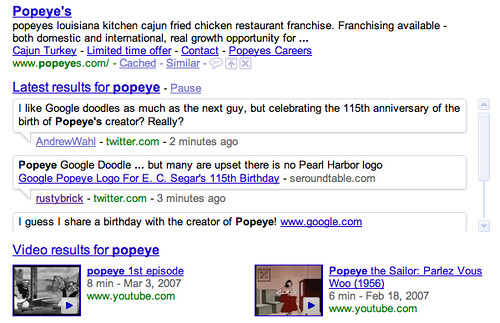 Google Popeye on Real Time Results
