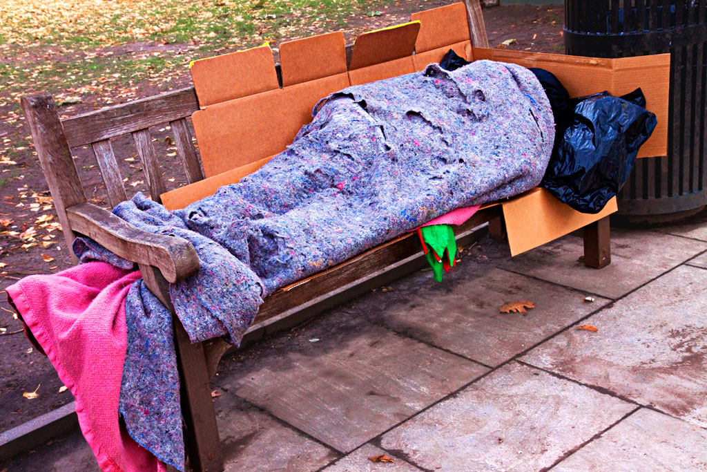 Man-wrapped-in-insulation--Washington-Square