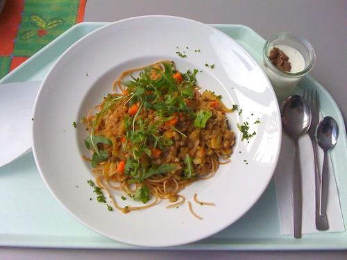Spaghetti mit Balsamico-Linsen