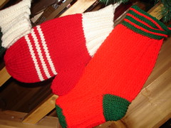 Stocking and Mitten Red